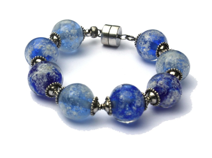 Armband as in glas blauw transparant