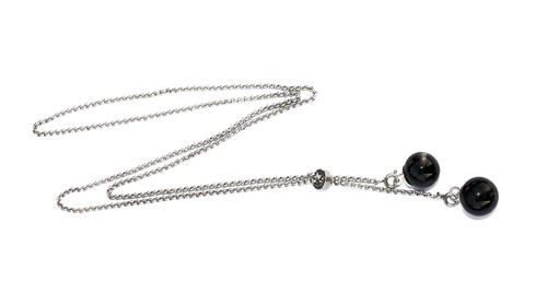 Lariat RVS ketting met 2 as in glaskralen